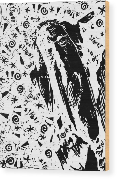 Black Wood Print featuring the painting Angered By Pain -- Hand-pulled Linoleum Cut by Lynn Evenson