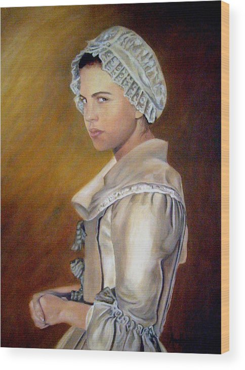 Portrait Wood Print featuring the painting Annilise by Anne Kushnick