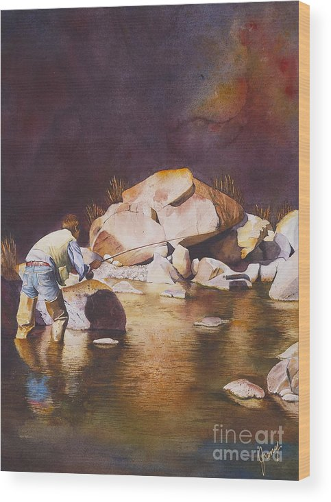Fly Fisherman Wood Print featuring the painting Anticipation by Jany Schindler