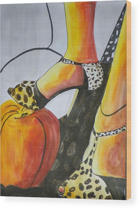 Apple Wood Print featuring the painting Apple Fashion by Evguenia Men