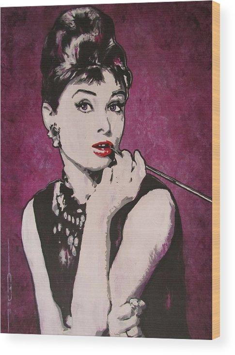 Audrey Hepburn May 4 1929 - Jan 20 1993 . Moon River. Breakfast At Tiffany's. Wood Print featuring the painting Audrey Hepburn - Breakfast by Eric Dee