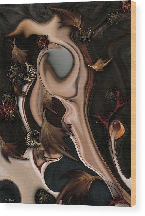 Autumnal Wood Print featuring the digital art Autumnal Material by Carmen Fine Art