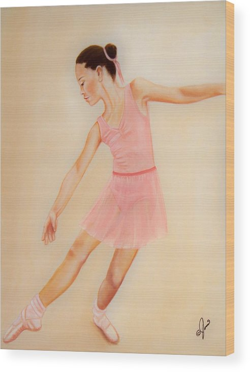 Portrait Wood Print featuring the painting Ballet Practice by Joni McPherson