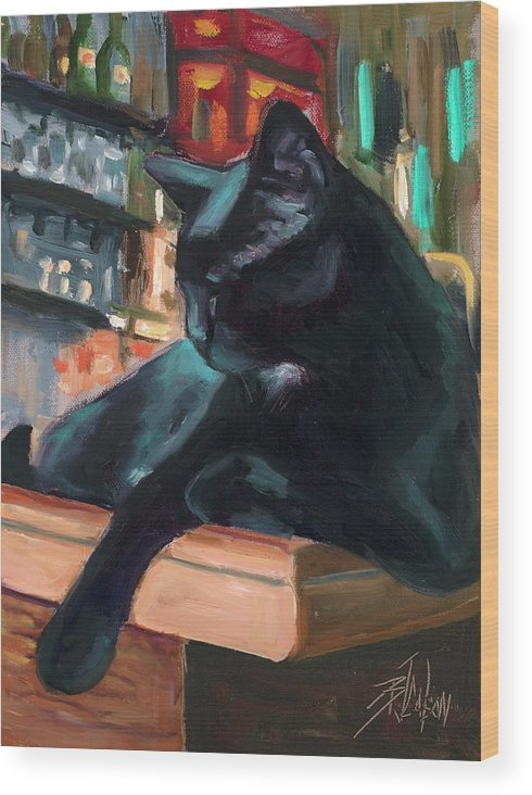 Black Cat Wood Print featuring the painting Bar Cat by Billie Colson