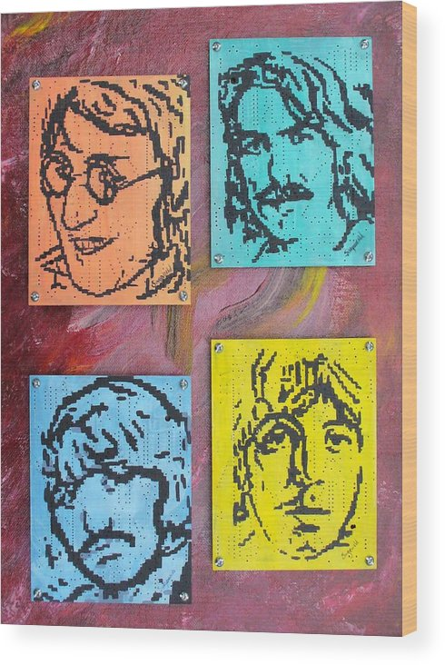 Beatles Wood Print featuring the painting Beatles Forever by Cary Singewald