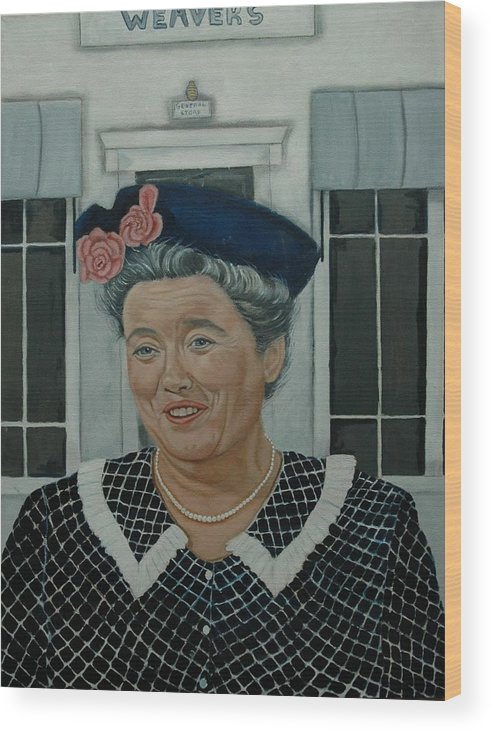 Aunt Wood Print featuring the painting Beatrice Taylor as Aunt Bee by Tresa Crain
