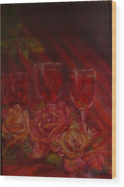 Wine And Roses Wood Print featuring the mixed media Beringer Cabernet Savignon by Helen Musser