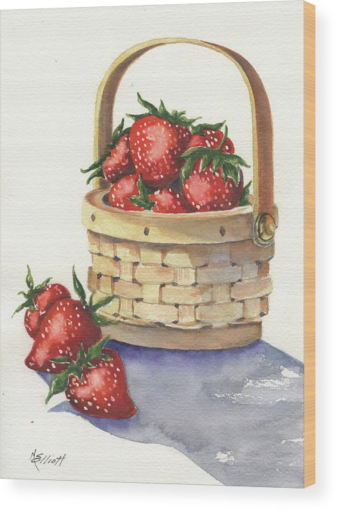 Berry Wood Print featuring the painting Berry Nice by Marsha Elliott