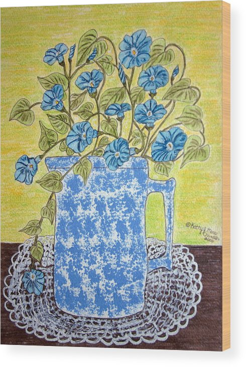 Blue Wood Print featuring the painting Blue Spongeware Pitcher Morning Glories by Kathy Marrs Chandler