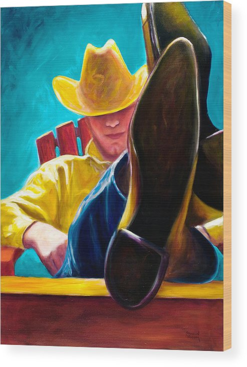 Western Wood Print featuring the painting Break Time by Shannon Grissom