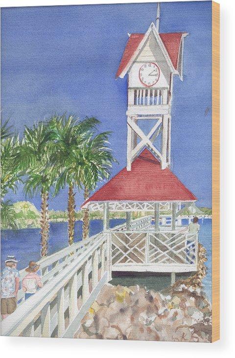Bridge Wood Print featuring the painting Bridge Street Pier by Rebecca Marona