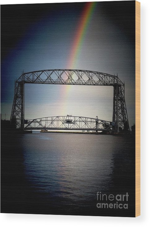 Canal Park Wood Print featuring the photograph Somewhere Over The Lift Bridge by Ever-Curious Photography