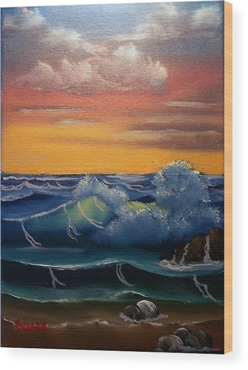 Seascape Wood Print featuring the painting Brilliant Seascape by Dina Sierra