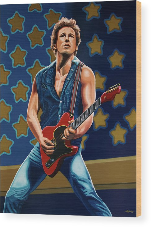 Bruce Springsteen Wood Print featuring the painting Bruce Springsteen The Boss Painting by Paul Meijering