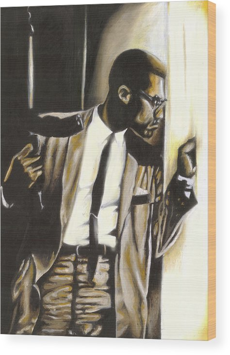 Malcolm X Wood Print featuring the drawing By Any Means Necessary by Lamark Crosby