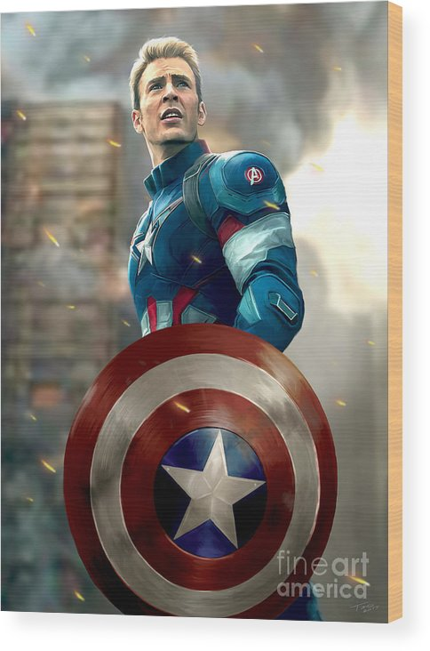 Avengers Wood Print featuring the painting Captain America - No Helmet by Paul Tagliamonte