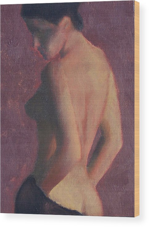 Nude Wood Print featuring the painting Castle Firelight by Bill Brauker