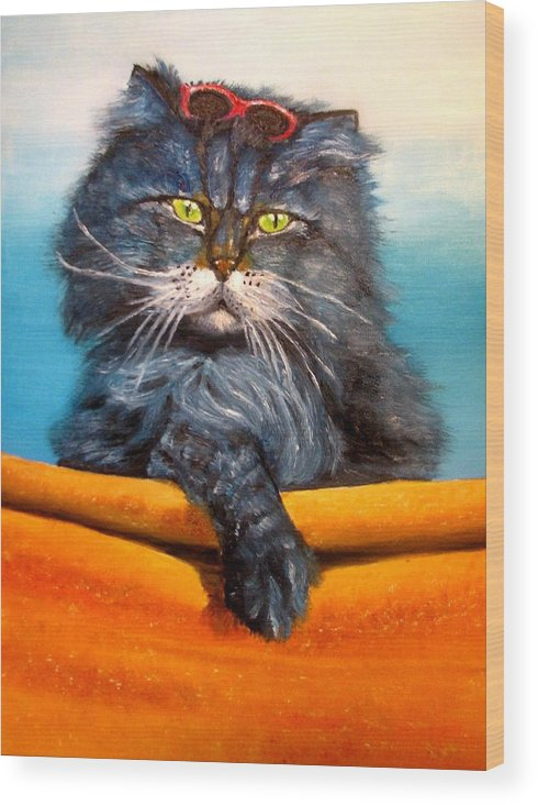 Cat Wood Print featuring the painting Cat.Go to swim.Original oil painting by Natalja Picugina