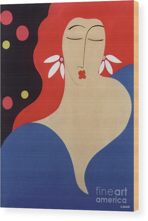 #female Wood Print featuring the painting Cha Cha by Jacquelinemari