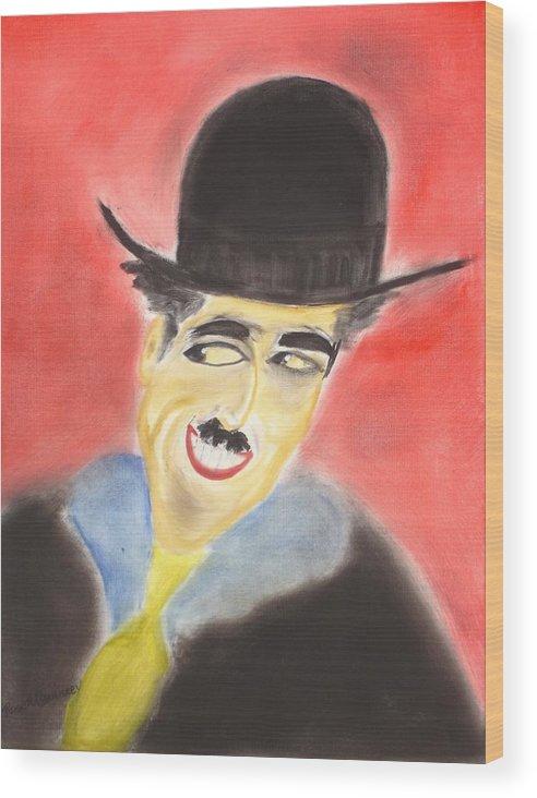 Cinema Film Wood Print featuring the painting Chaplin by Roger Cummiskey