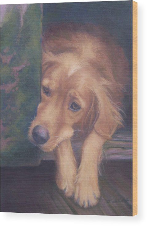 Charlie Wood Print featuring the painting Charlie's In The Doghouse by Diane Caudle