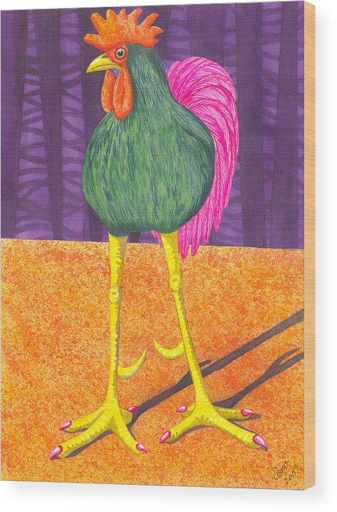 Rooster Wood Print featuring the painting Chicken Legs by Catherine G McElroy