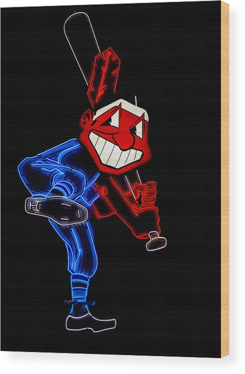 Cleveland Wood Print featuring the photograph Chief Wahoo by Stewart Helberg