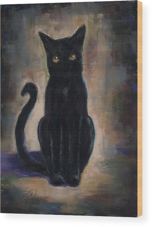 Black Cat Wood Print featuring the pastel Coal Train by Billie Colson