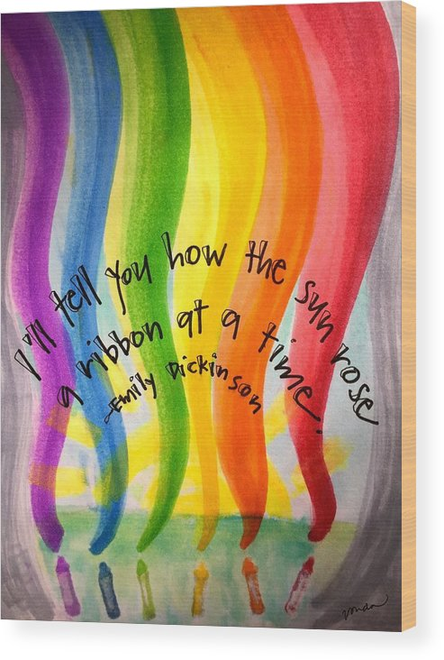 Rainbow Wood Print featuring the painting Color the Sky by Vonda Drees