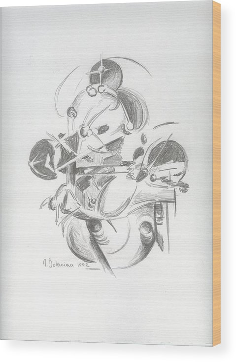 Abstract Wood Print featuring the drawing Combat by Muriel Dolemieux