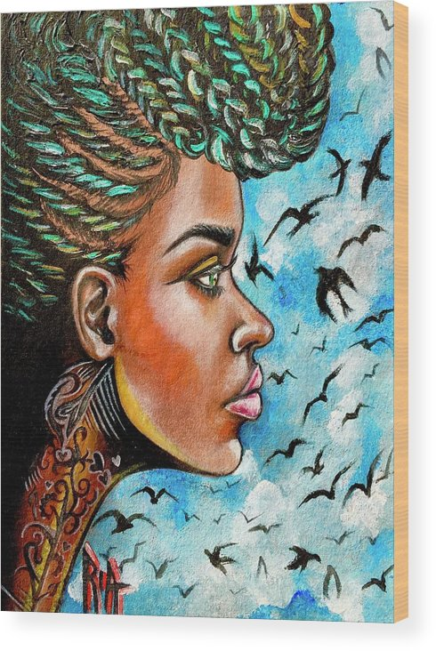 Ria Wood Print featuring the painting Crowned Royal by Artist RiA