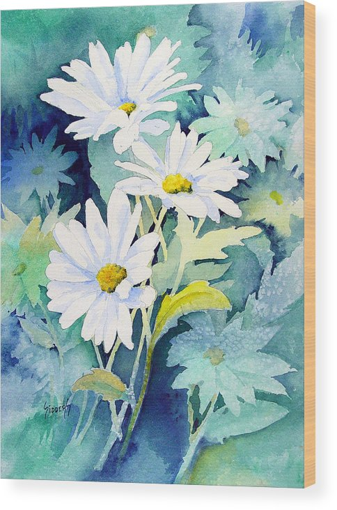 Flowers Wood Print featuring the painting Daisies by Sam Sidders