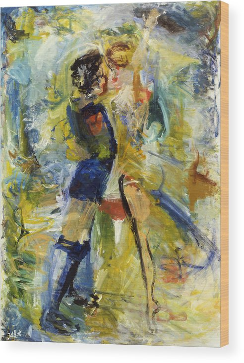 Dance Light Boy Girl Colors Wood Print featuring the painting Dance by Joan De Bot