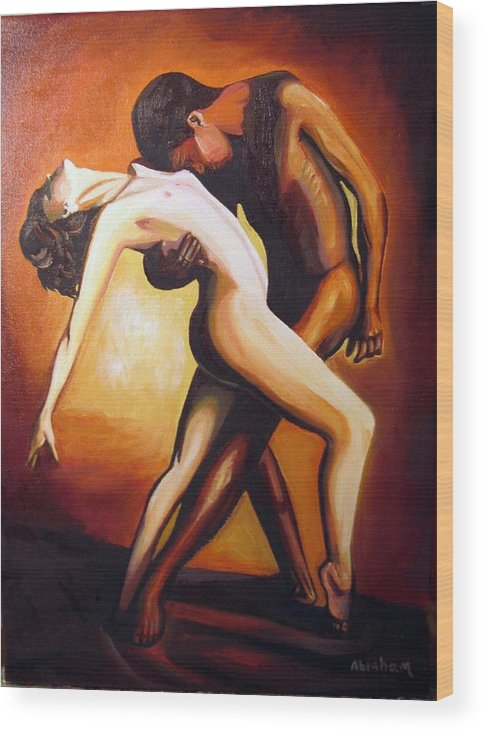 Nude Wood Print featuring the painting Dancing by Jose Manuel Abraham