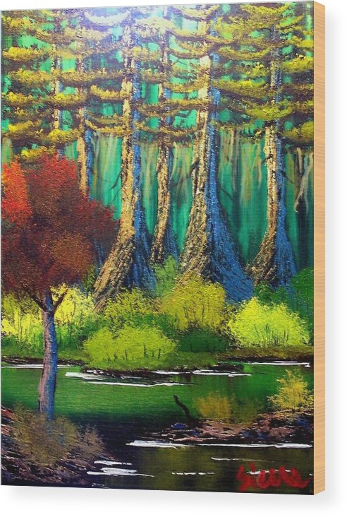 Bayou Wood Print featuring the painting Deep in the Bayou by Dina Sierra