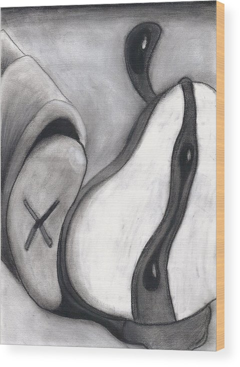 Charcoal Wood Print featuring the drawing Distorted Series 4 by Dan Fluet