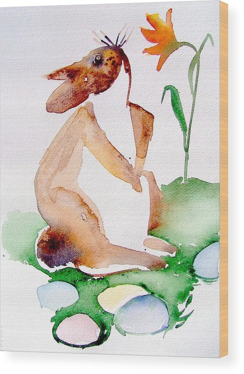 Bunny Wood Print featuring the painting Easter Bunny by Mindy Newman