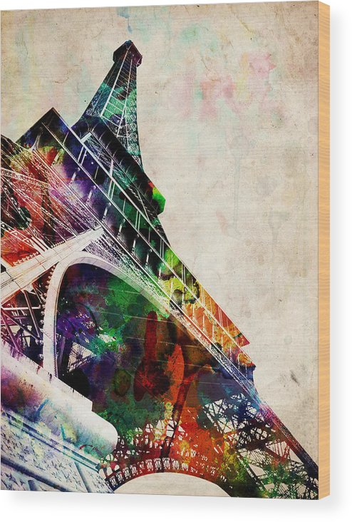 Eiffel Tower Wood Print featuring the digital art Eiffel Tower by Michael Tompsett