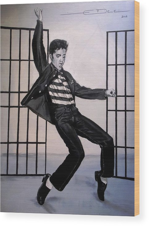 Elvis Presley Wood Print featuring the painting Elvis Presley Jailhouse Rock by Eric Dee