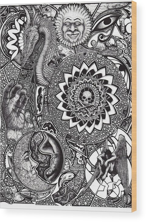 Black And White Wood Print featuring the drawing Epiphany by Tobey Anderson