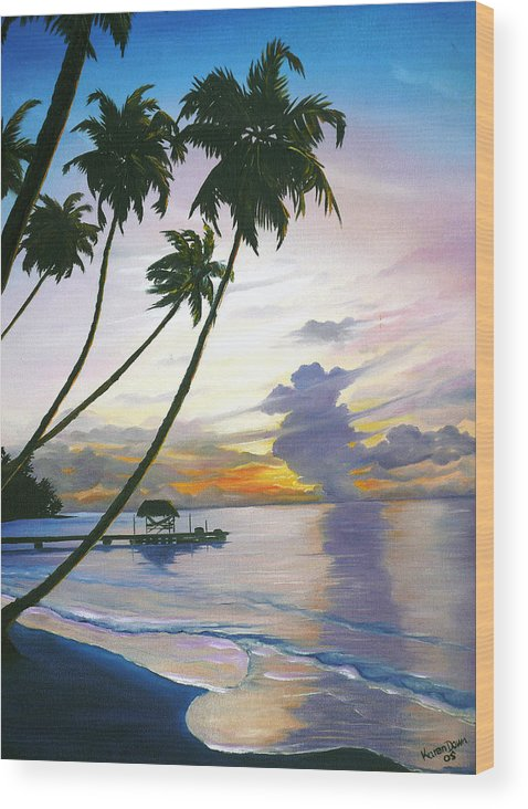 Ocean Painting Seascape Painting Beach Painting Sunset Painting Tropical Painting Tropical Painting Palm Tree Painting Tobago Painting Caribbean Painting Original Oil Of The Sun Setting Over Pigeon Point Tobago Wood Print featuring the painting Eventide Tobago by Karin Dawn Kelshall- Best