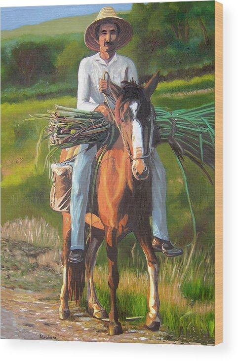 Cuban Art Wood Print featuring the painting Farmer On A Horse by Jose Manuel Abraham