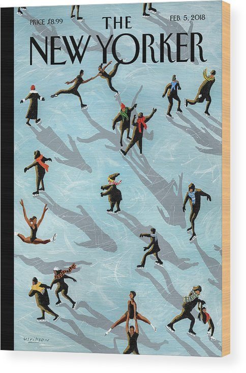 Figured Skaters Wood Print featuring the painting Figured Skaters by Mark Ulriksen