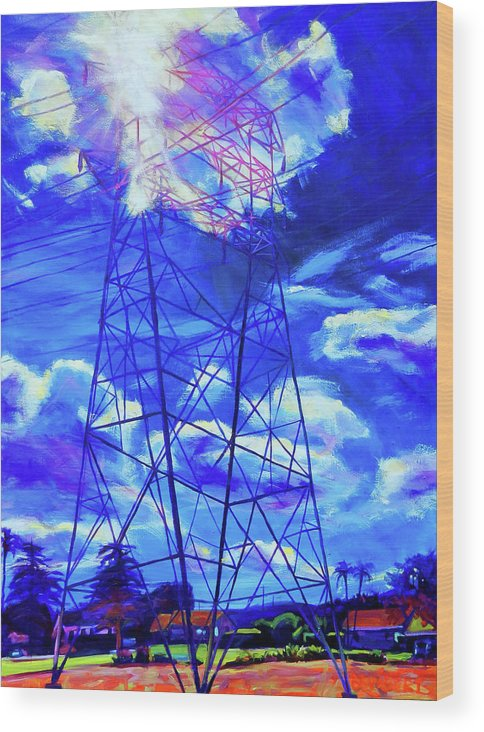 Power Tower Wood Print featuring the painting Flash by Bonnie Lambert