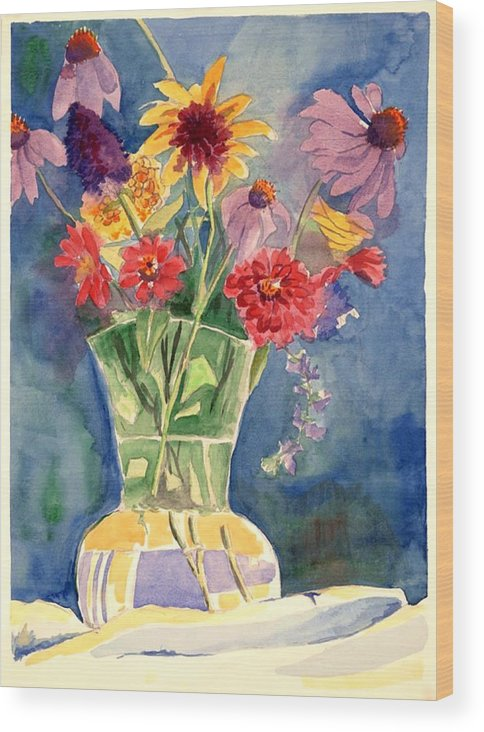 Flowers In Glass Vase Wood Print featuring the painting Flowers in Glass Vase by Judy Swerlick