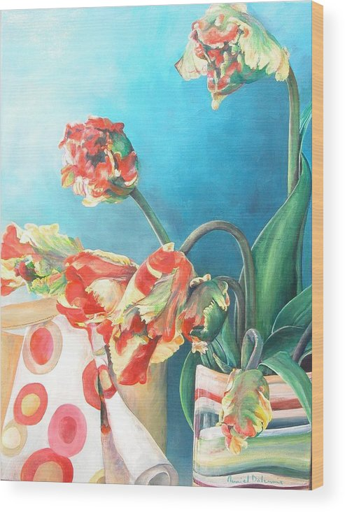 Still Life Wood Print featuring the painting Foulard by Muriel Dolemieux