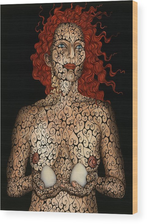 Figurative Wood Print featuring the painting Frau mit Eiern by Tina Blondell