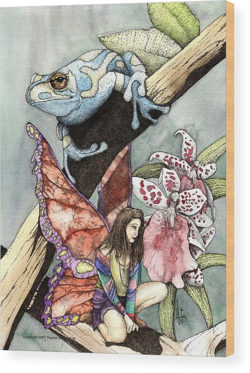 Fairy Faery Dragons Demon Fantasy Art Amy Brown Wizards Magic Pagen Wood Print featuring the mixed media Frog Flowers And A Fairy by Preston Shupp