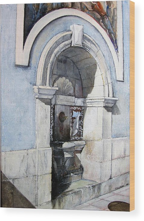 Fuente Wood Print featuring the painting Fuente Castro Urdiales by Tomas Castano
