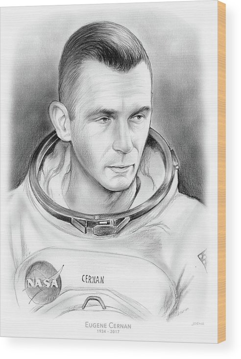 Gene Cernan Wood Print featuring the drawing Astronaut Gene Cernan by Greg Joens